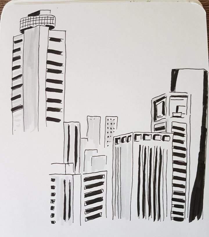 Jakarta skyline sketch
