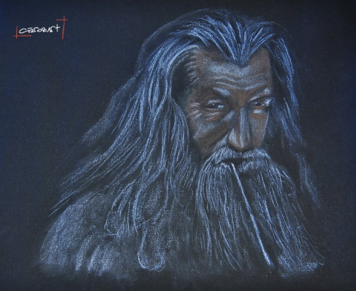 gandalf soft pastel drawing